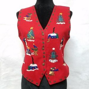 Red Felted Wool Blend Ugly Christmas Sweater Vest